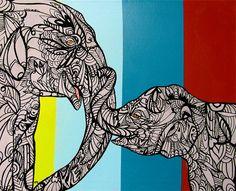 Elephant Zentangle Art Print , Mommy and Baby op Etsy, 18,86€