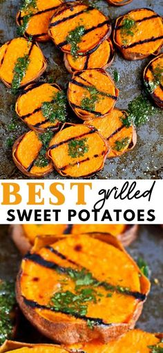 One taste of these grilled sweet potatoes with cilantro vinaigrette will convince you to make this your go-to summer side dish recipe. 118 calories and 3 Weight Watchers SP | Slices | Healthy | BBQ #grilledpotatoes #weightwatchers