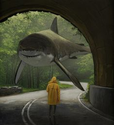 surreal art Interview: Artist Creates Surreal Paintings of Sharks Roaming Above Water Surrealism Photography, Art Photography, Surealism Art, Surreal Artwork, Arte Obscura, Arte Sketchbook, Surrealism Painting, Gouache Painting, Wow Art