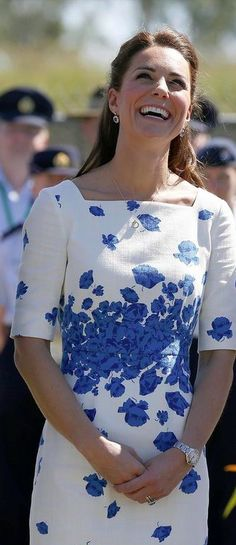 --April 2014- Kate Middleton in Looking and smiling at the same time.