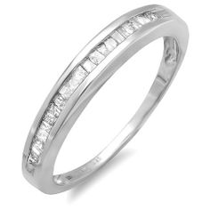 0.25 Carat (ctw) Sterling Silver Baguette Diamond Anniversary Wedding Band Stackable Ring DazzlingRock Collection. $79.90. Weighs approximately 1.42 grams. Diamond Weight : 0.25 ct tw.. Diamond Color / Clarity : I-J / I2-I3. Items is smaller than what appears in photo. Photo enlarged to show detail. Crafted in 925 Sterling-Silver. Save 71%!