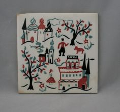 Vintage Wheeling Cushion Pottery Tile Trivet Russian Folk Art Village Scene | eBay