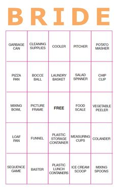 Print Off These Free Bingo Cards for An Easy Bridal Shower Game: Practically Living's Bridal Shower Bingo