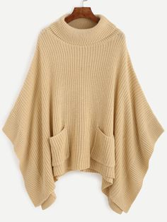 SheIn offers Apricot Turtleneck Dual Pocket Front Poncho Sweater & more to fit your fashionable needs. Turtleneck Shirt, Poncho Sweater, Knitted Poncho, Loose Knit Sweaters, Women's Sweaters, Cardigans, Oversized Shirt, Oversized Sweaters, Brown Sweater