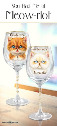 Toast the fun and unique character of cats with this sassy wine glass collection! Showcasing the delightful cat artistry of Kayomi Harai, each frisky set of 2 glasses is triple fired with paw prints, golden details and hand-applied 12K gold rims.