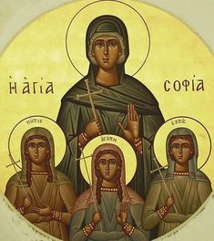 Sophia & her daughters Byzantine Icons, Byzantine Art, Religious Icons, Religious Art, Bible Timeline, Greek Icons, Art Icon, Orthodox Icons, Russian Art