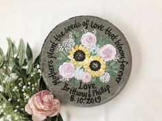 PERSONALIZED Parents of the Bride Gift, Mother of the Bride Gift, Mother Wedding Gifts, Wedding Garden Stone-Sunflowers - Pink Roses by samdesigns22 on Etsy