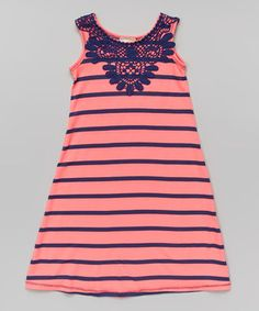 Another great find on #zulily! Neon Pink & Navy Maxi Dress - Toddler & Girls by Pink Vanilla #zulilyfinds