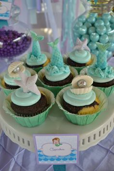 Cupcakes at a Mermaid Party #mermaid #partycupcakes