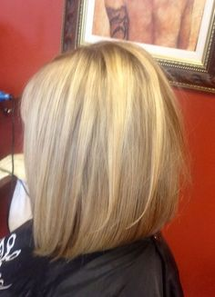 long inverted bob   Long Bob, slightly inverted with light layers.. Great for fine hair.