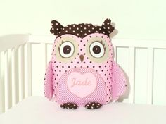 Pink Owl Owl Pillow Owl Baby Shower Custon by Customquiltsbyeva
