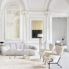 Winter whites. {#Styled by @bess_on,  by @zhuravlevdmitry, via @elledecorationru} #interiorinspiration #livingroom