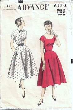 I love the simple shirtwaist style to the left! And the scalloped collar on the dress to the right is lovely!