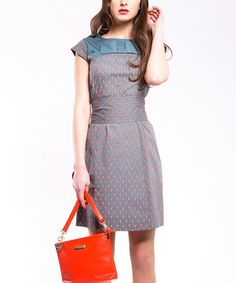Take a look at this Gray & Vermillion Flower Cap-Sleeve Dress - Women by Almatrichi on #zulily today!