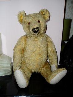 Antique blond Steiff bear 1920. Blonde Steiff Teddy beer 1920 Teddy Beer, Antique Teddy Bears, Steiff Teddy Bear, Blond, Friends, Animals, Vintage, Plushies, Photograph Album