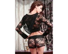 Sexy Long Sleeves Hooded Lace Set Black One Size