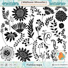 Wild Flowers - Hand Drawn Flowers - Outlines + Silhouettes - PNG + Photoshop Brushes included!