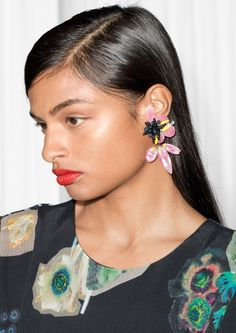 & Other Stories image 3 of Mixed Media Hibiscus Earrings in Pink