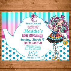 Maddie Hatter Invitation Dots & Stripes -- Maddie Hatter Invite -- Maddie Hatter Birthday -- Maddie Hatter Party Favors - Ever After High