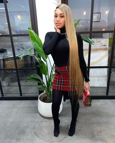 She who dares, wins🏆. Swag Outfits For Girls, Plaid Outfits, Cute Swag Outfits, Girls Winter Fashion, Black Girl Fashion, Winter Fashion Outfits, Cozy Fashion, Fashion Clothes, Teen Fashion