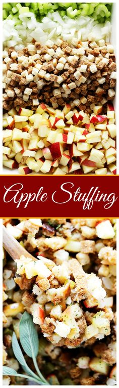 Easy Apple Stuffing Recipe - Very delicious, easy to make turkey stuffing with apples, bread cubes and herbs. (Baking Tools Easy Dinners)