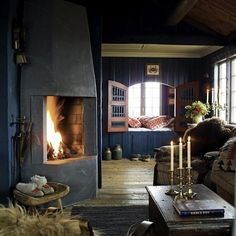 this cozy room would be wonderful in a mountain cabin or a ranch house
