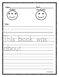 The visuals on the first page help the students understand the difference between fiction and non-fiction.  The template also has dotted-lined sent...