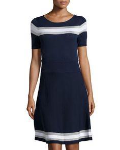 Leslie Striped Short-Sleeve Dress, Navy/White by Catherine Catherine Malandrino at Neiman Marcus Last Call.
