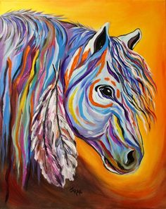 'Spirit' was also painted while listening to my inspiration; music. I love the distant drums of the Ute Indians and their Culture. The Ute's decorated many of their horses with feathers and braids in