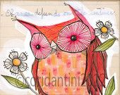 red owl art - watercolor painting - whimsical - limited edition and archival, 8 x 8 inches by cori dantini