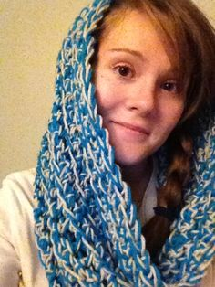 bright blue and light grey infinity scarf - hooded , simple crochet with two strands of yarn.