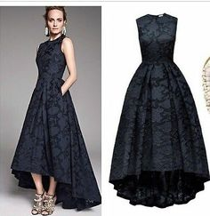 H&M Conscious Exclusive Collection Navy Blue Floral Brocade Dress