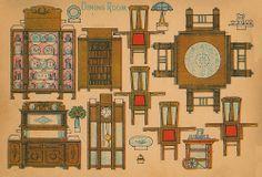 CASITA DE PAPEL: dollhouse paper: muebles de comedor, dinning furniture