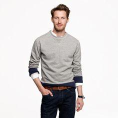 Wallace & Barnes | Grey sweatshirt with navy cuffs (I love classy casual on a guy!)