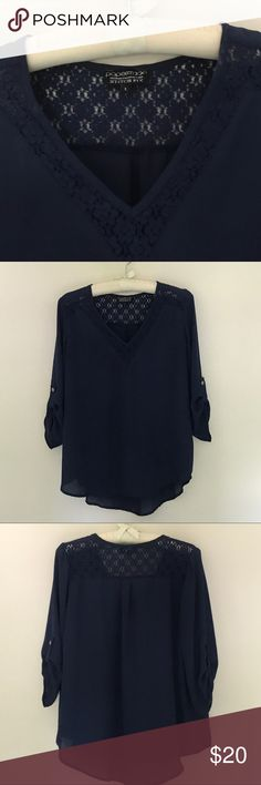 Paper moon blouse from Stitch Fix Gently worn Navy Blouse with gold buttons on sleeves Paper Moon Tops Blouses