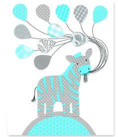Printable Nursery Art Zebra Balloons Aqua by SweetPeaNurseryArt, $6.00
