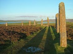 The Ring o' Brodgar, Stenness.  The stone ring was built in a true circle, almost 104 metres wide. Although it is thought to have  originally contained 60 megaliths.  Today, only 27 stones remain.