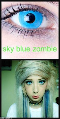 Halloween Sky blue zombie lens USA Shipping SELLER FAST SHIPPING #HALLOWEENCRAZYLENS
