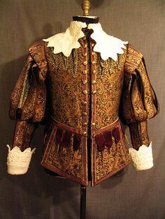 OSF Costume Rentals: 09003785 Doublet Men's Cavalier, black brown gold brocade, C42.JPG