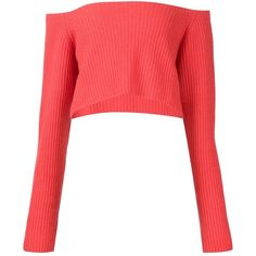 Baja East off-the-shoulder jumper found on Polyvore featuring tops, sweaters, crop tops, red, white cashmere sweater, white crop top, off the shoulder sweater, white jumper and red off the shoulder sweater