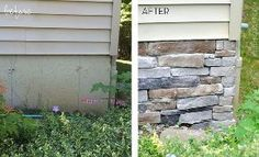 adding stone veneer to a concrete foundation wall, concrete masonry, outdoor living, porches