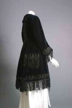 19th c. French exquisite black silk velvet embroidered mantleFrance, circa 1855- 60, an exquisite black silk velvet mantle for crinoline dresses, adorned all around with the most exquisite twisted silk fringe and jet beaded lace. second empire