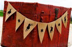 COWBOY BIRTHDAY BANNER - Western Birthday - Boys Birthday Banner - Burlap Cowboy Banner - Burlap Banner - Rodeo Burlap Banner