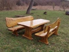 Live Edge Picnic Table And Benches -- would make an amazing kitchen table.
