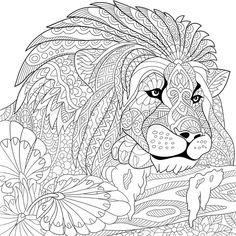 Stock vector of 'Zentangle stylized cartoon lion (wild cat, leo zodiac). Hand drawn sketch for adult antistress coloring page, T-shirt emblem, logo or tattoo with doodle, zentangle, floral design elements.'