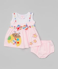 Look what I found on #zulily! Light Pink & Blue Ladybug Dress & Diaper Cover - Infant #zulilyfinds