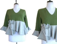 Cashmere Cropped Sweater M/L Olive Heather by RebeccasArtCloset,
