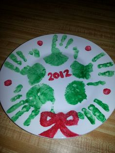 christmas gift for parents wreath handpainted plate christmas craft
