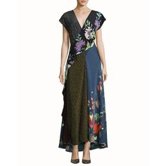 --evaChic--This Diane von Furstenberg Draped Floral & Dot Print Silk Maxi Dress from SS17 lookbook is characterized by an intricate mix of patterns in the form of a patchwork or motif-blocking technique. New Chief Creative Officer Jonathan Saunders reinvents the wrap silhouette into a smartly draped dress crafted from ethereal silk for stunning evening looks.        http://www.evachic.com/product/diane-von-furstenberg-draped-floral-dot-print-silk-maxi-dress/