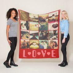Custom photo love template fleece blanket - marriage gifts diy ideas custom